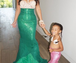kim kardashian, north west, and mermaid image