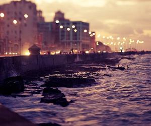 light, city, and sea image