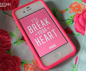 pink, iphone, and heart image