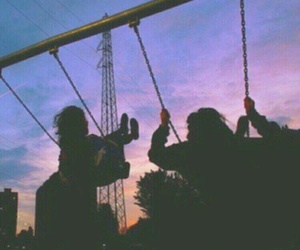 sky, friends, and grunge image