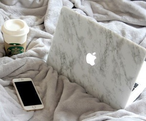 iphone, apple, and coffee image