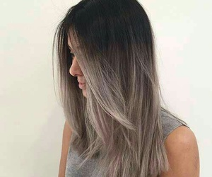 grey tank tops and silver ombre hair image