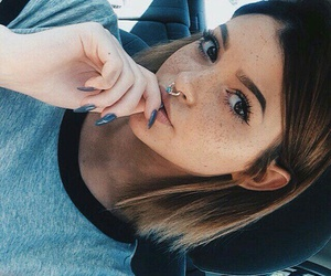 septum piercing, kelsey simone, and grey t-shirts image