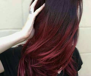 black t-shirts, red ombre hair, and straight red ombre hair image
