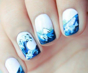 nails, blue, and waves image