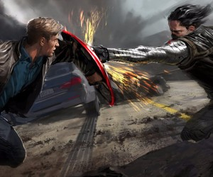 Marvel, winter soldier, and captain america image