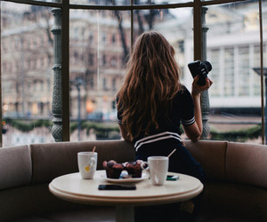 girl, photography, and coffee image