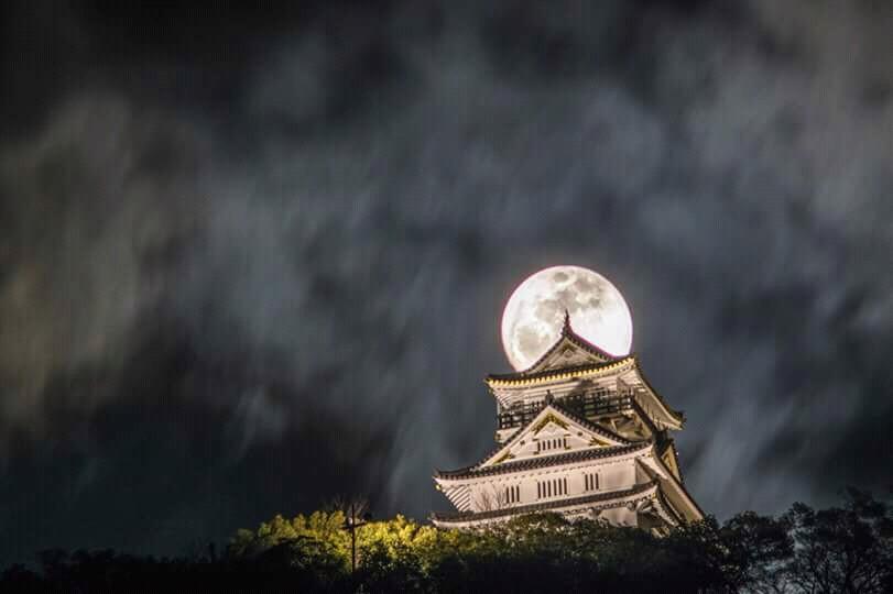 japan, moon, and hiroshi sugiyama image