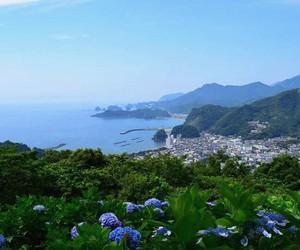 japan, nature, and seashore image