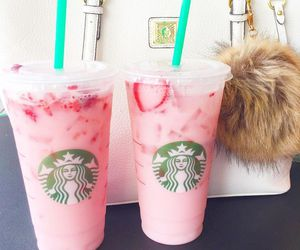starbucks, strawberry, and drink image