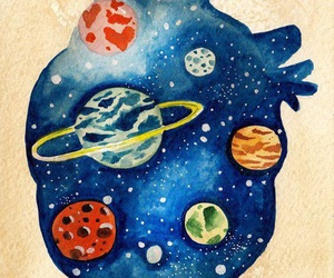heart, planet, and art image