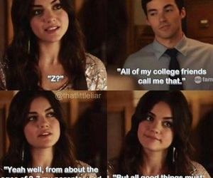 pll, ezria, and lucy hale image