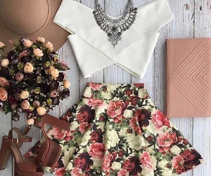 classy, skirt, and flowers image