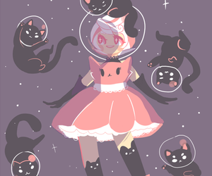 cats, girl, and kawaii image