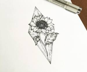 black and white, sunflower, and tattoo image