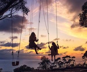 friends, beautiful, and sunset image