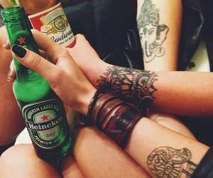 friends, tattoo, and beer image