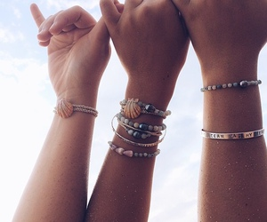 friends, beach, and bracelets image