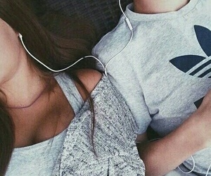 love, couple, and music image