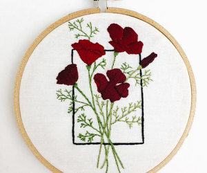 cross stitch, wall art, and poppy flower image