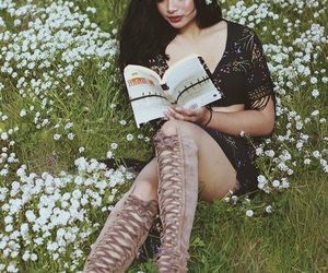 beautiful, black hair, and book image