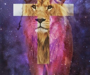 lion, cross, and galaxy image