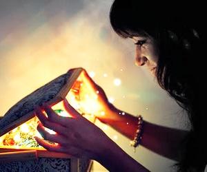 girl, magic, and light image