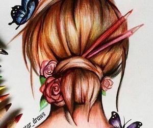 beautiful, drawing, and makeup image