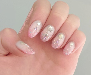 pink, nails, and mermaid image