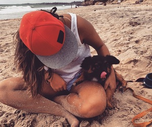 beach, cap, and dog image