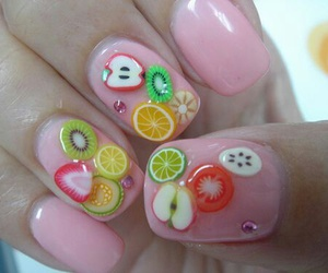 nails, fruit, and pink image