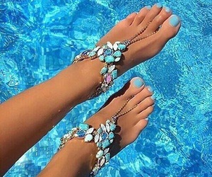 blue, summer, and nails image