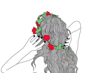 outline, flowers, and art image