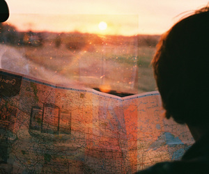map, travel, and sunset image