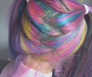 rainbow, hair, and pink image