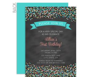 birthday, confetti, and invitation image