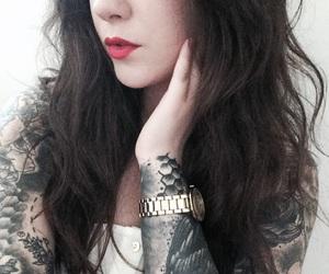 black, lipstick, and makeup image