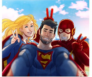 Supergirl, superman, and the flash image