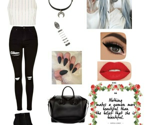 clothes, hair, and Polyvore image