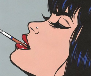 pop art, cigarette, and smoke image