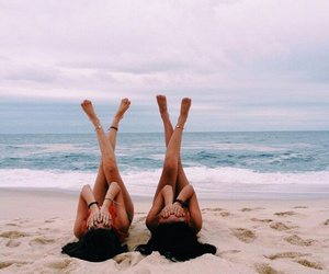 friends, beach, and beautiful image