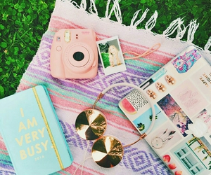 headphones, pink, and summer image