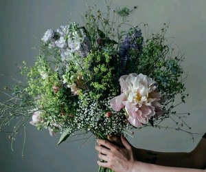 flowers, bouquet, and green image