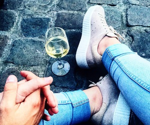 jeans, shoes, and wine image