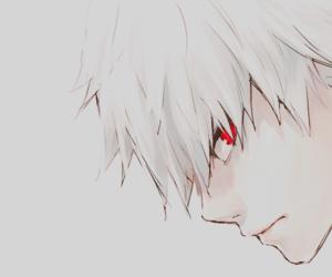 anime, white hair, and k a n e k i image