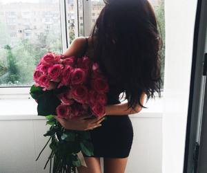 girl, flowers, and roses image