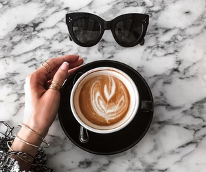 girl, coffee, and sunglasses image