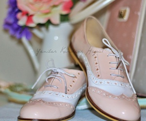 floral, oxford shoes, and pastels image