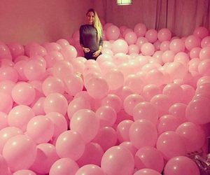 pink, girl, and balloons image