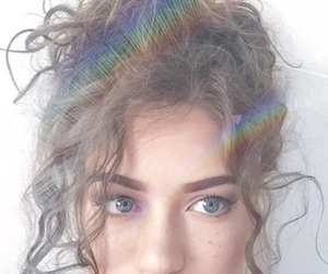 eyes, curly, and hair image
